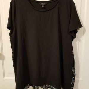 Simply Vera Wang Black Top Size Xlarge Floral
